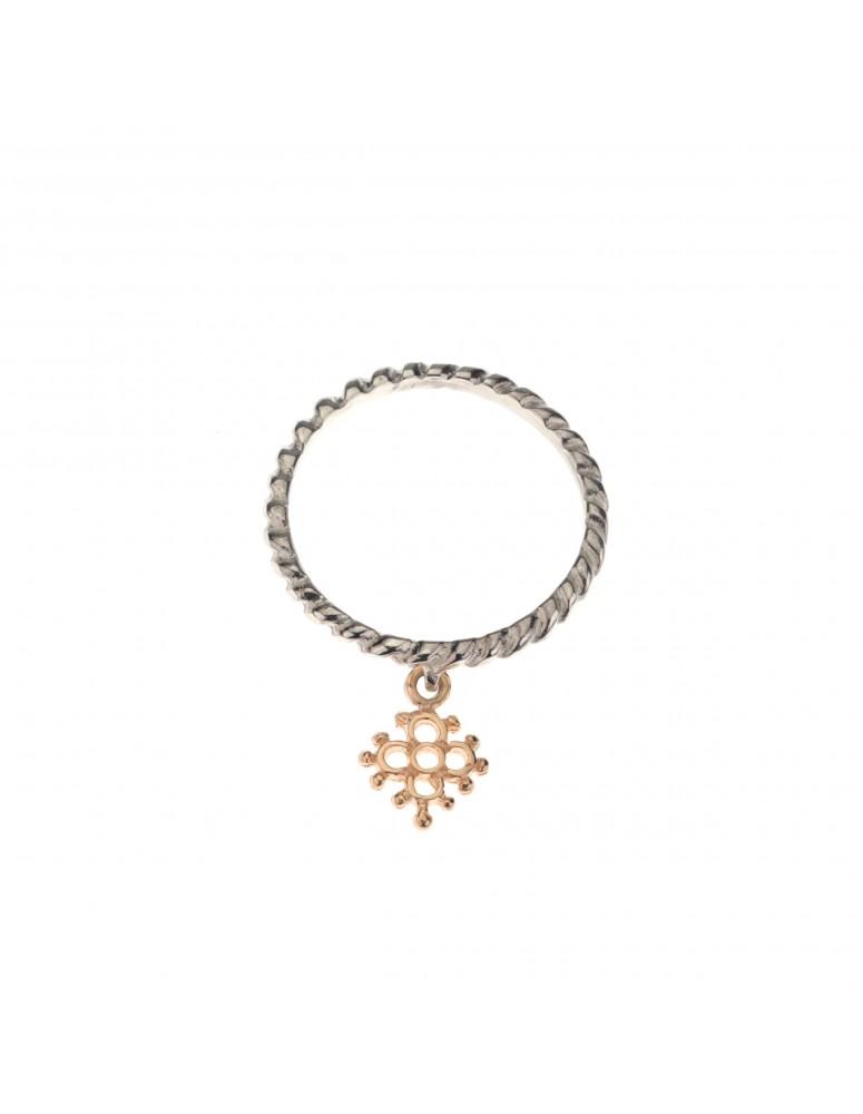 Anello mini croce fiorita argento e oro