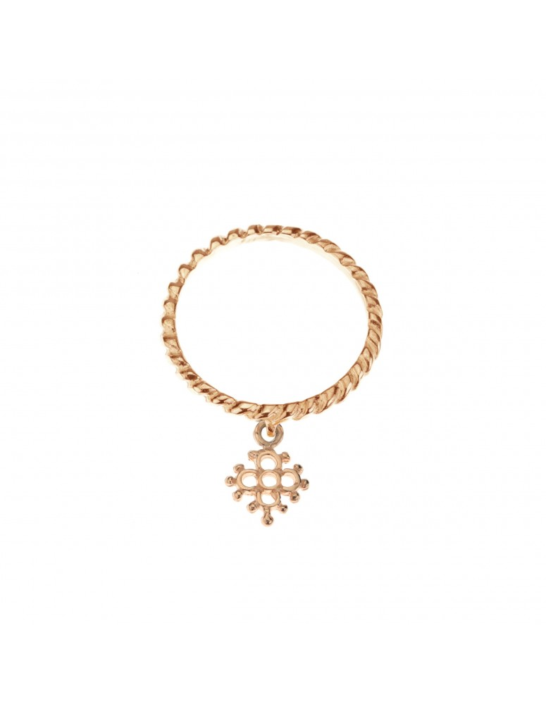 Anello mini croce fiorita oro