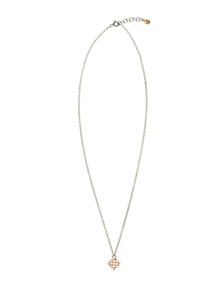 Girocollo mini croce fiorita argento...