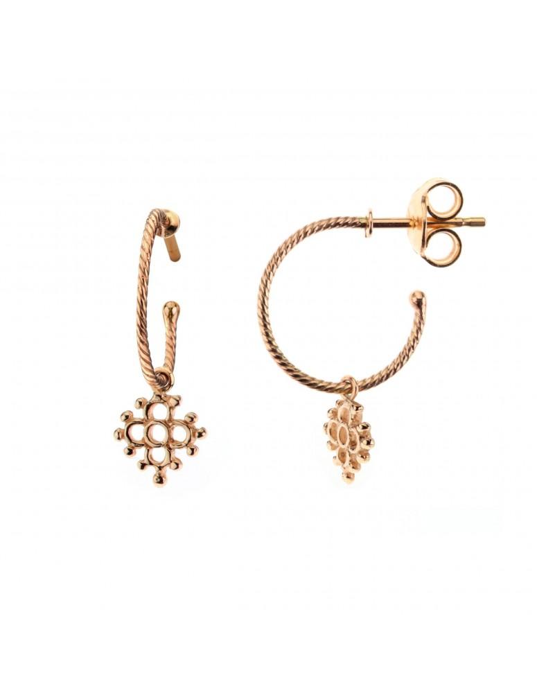 Orecchini mini croce floreale in oro