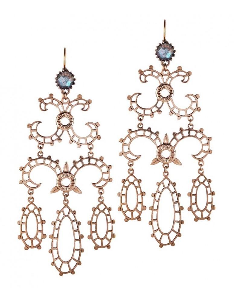 Orecchini grand chandelier in oro rosa
