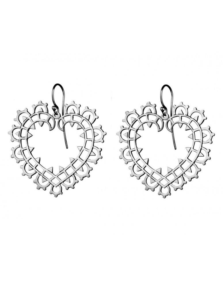 Lace heart sterling silver earrings