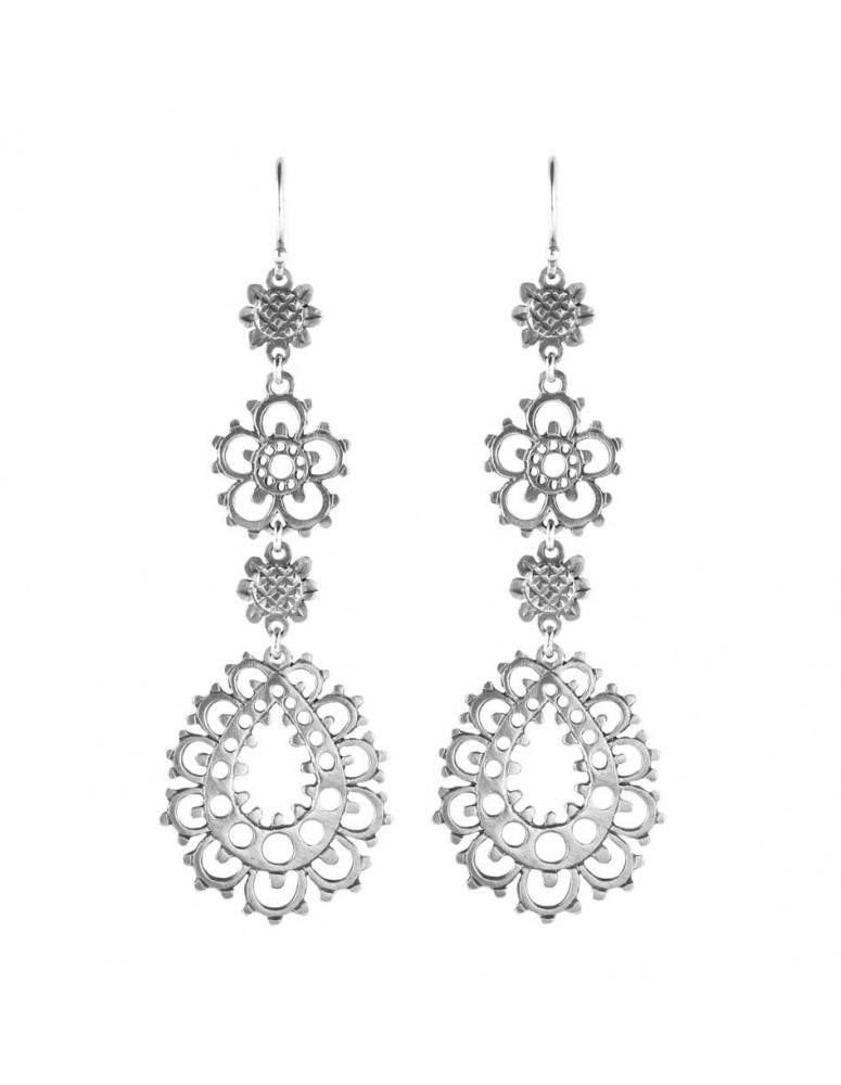 Lace flower sterling silver earrings