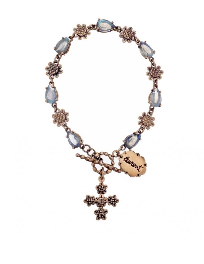 Bracciale rosario con croce floreale